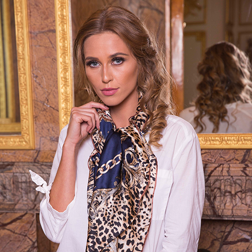 Navy leopard silk scarf, replace this with the flat image on site