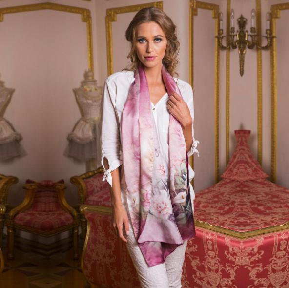 twill silk scarf pink