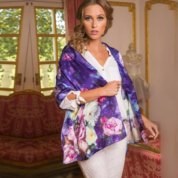 twill silk scarf purple