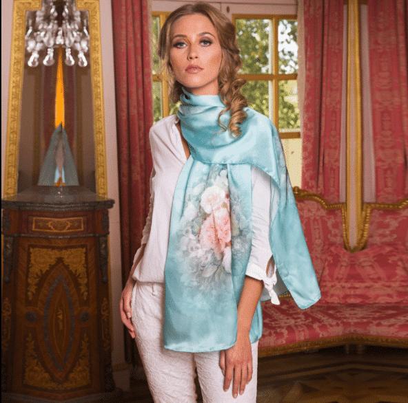 twill silk scarf turquoise
